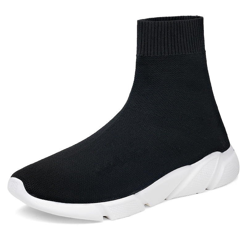 Plus Size 35-47 Breathable Womens Knit Men Shoes Running Trainers Black High Top Colourblock Fabric Ankle Boots Sock Sneakers