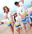Семья наряды Новый хлопок женщины девушки man Мальчики наборы пугало пляж майка + брюки наборы