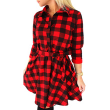 Autumn Plaid Red Dress Vintage Casual Print Women Shirt 2016 Sexy Hipster Clothes Feminina Dresses Plus Size Work Wear S207