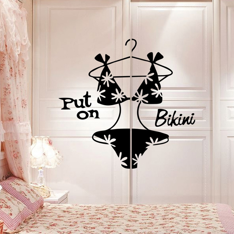 Fantastic Put On Bikini Sexy Clothes Chest Bedroom Vinyl Wall - How do you put a wall sticker on