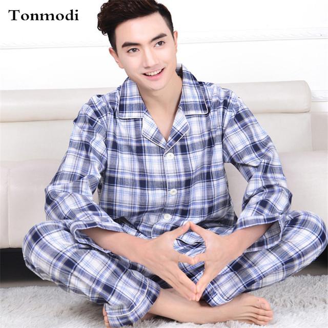 Classic Plaid Pajamas Hombres Primavera y Otoño Algodón Tejido de manga Larga chaqueta de Punto Para Hombre Pijamas ropa de Dormir