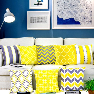 f4f653d28 Modernas capas de almofadas Decorativas Capa de Almofada Geométrica  decoração da casa Amarela Cinza lance Caso Travesseiros Almofada De Veludo  Para O Sofá ...