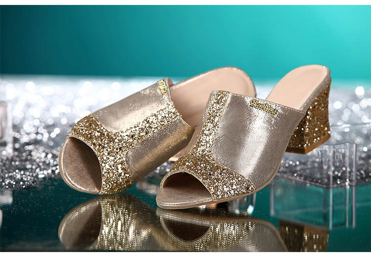 HTB1ySmcgQyWBuNjy0Fpq6yssXXam Women sandals 2019 Bling fashion square heel summer lace slippers women sexy Hollow sandals for women size 35-41