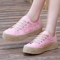 Las nuevas 2017 Mujeres Ocasionales Zapatos de Plataforma de La Moda Zapatos de Mujer Pisos Punta Redonda Señoras Atan Para Arriba los Zapatos de Los Planos Zapatos Mujer