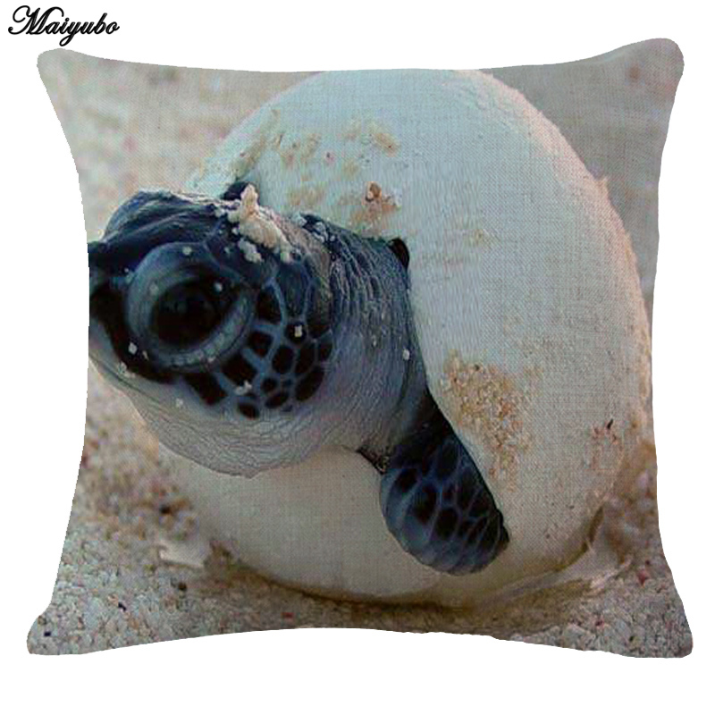 Maiyubo Marine Sea cute baby Turtles Fish print Throw Pillow Case Blue Ocean Animal Linen Comfortable Cushion Cover wholesale