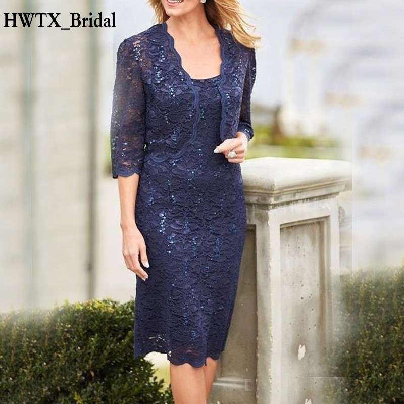Navy Blue Lace Mother Of The Bride Dresses Knee Length Half Sleeve Jacket Wedding Guest Dress Plus Size Evening Formal Gown 2018