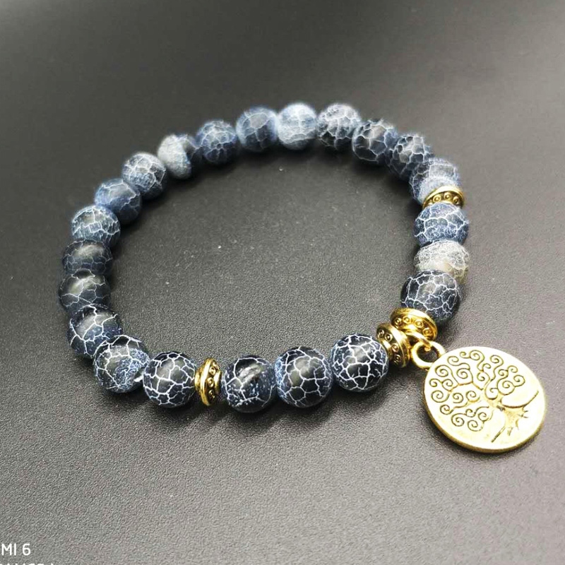 YUZHEJIE New Arrival Life of tree charm Natural Stone Bracelet Men and women Wrist Mala Beads Jewelry Solar Plexus Bracelet
