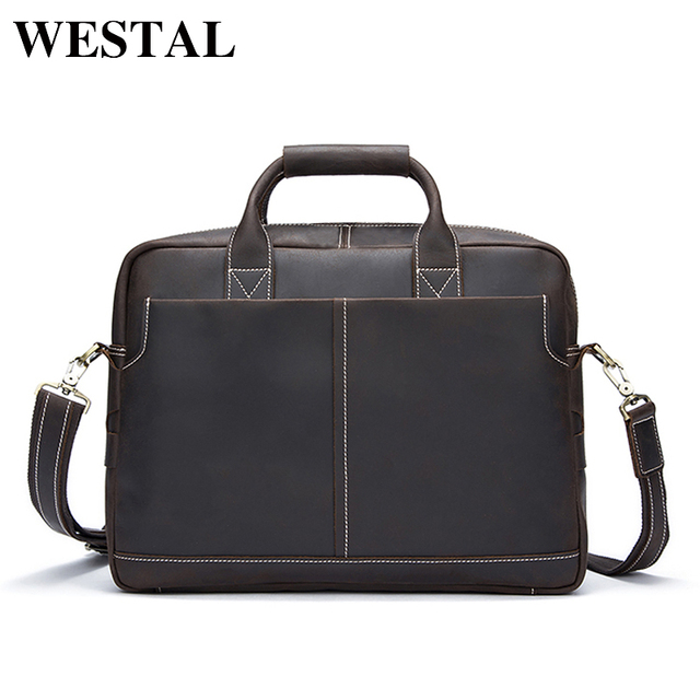 cd328029c8 WESTAL Genuine Leather Men Bag Men s Fashion Messenger Handbags Laptop  Briefcase Portfolio Totes Men Leather Laptop Bag 8919