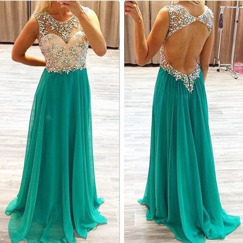2018 Sexy Hunter Sheer Chiffon Long   Prom     Dresses   Beaded Rhinestones Top Backless Floor Length Party Evening   Dresses