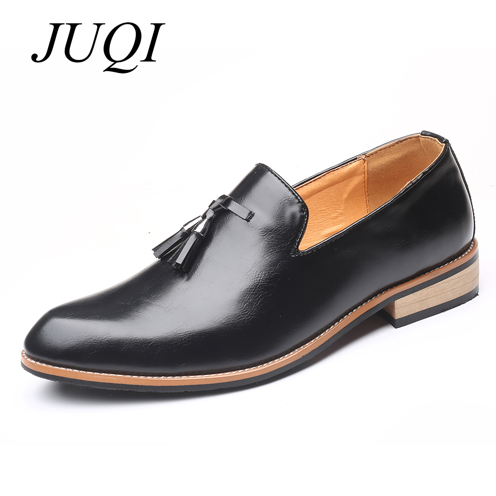 JUQI Summer Handmade PU Leather Men Loafers Casual Brand Men Shoes Fashion Breathable Driving Shoes Plus Size 48