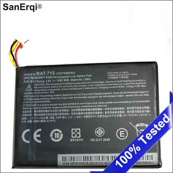 High Quality Battery BAT-715 Tablet Battery For Acer Iconia Tab B1 B1-A71 B1-710 1ICP5/60/80 Battery