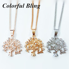 2017 New Fashion Tree Of Life Necklace Pendant Silver Rose Gold Color Crystal Life Tree Necklaces & Pendants Women Jewelry