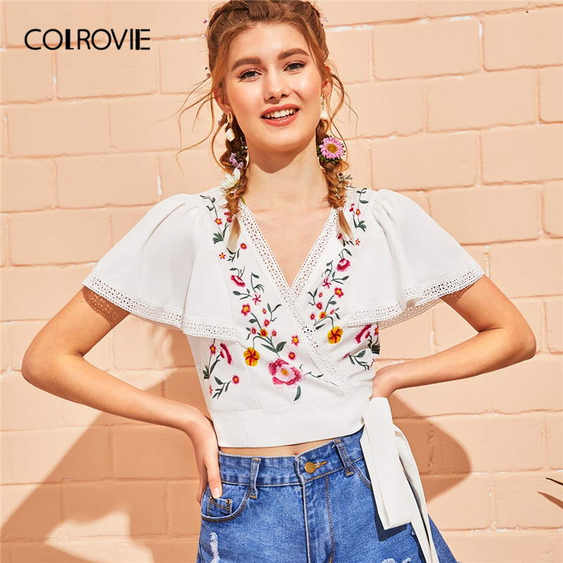 COLROVIE White Floral Embroidery Self Tie Wrap Boho   Blouse     Shirt   Women Crop Top 2019 Summer Butterfly Sleeve Holiday   Blouses