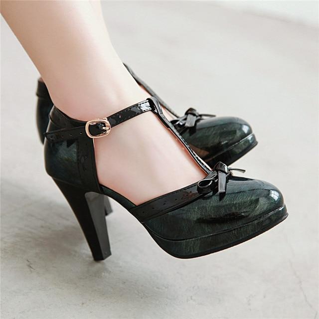 YMECHIC 2019 אופנה פטנט שחור ירוק אדום פלטפורמת ספייק עקבים גבוהים Bowtie המפלגה לוליטה נשים נעלי קיץ משאבות בתוספת גודל