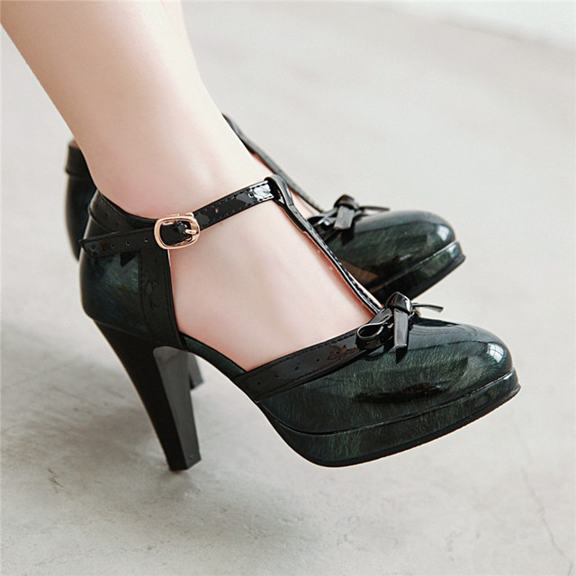 YMECHIC 2019 Fashion Patent Black Green Red Platform Spike High Heels Bowtie Party Lolita Womens Shoes Summer Pumps Plus Size