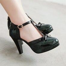 YMECHIC chaussures brevetées pour femmes, chaussures de fête, Lolita, noir, vert rouge, plateforme, talons hauts, escarpins dété, grande taille, collection 2019