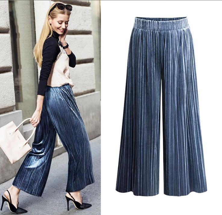 plus size 27-34!New Autumn   Wide     Leg     Pants   Women ankle-length Velvet   Pants   Elastic high Waist Casual Loose Trousers