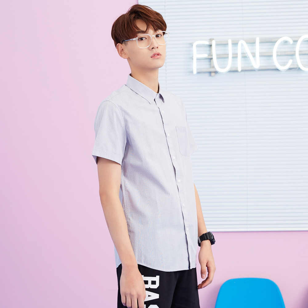 Metersbonwe Männer Kurzarm Shirt für Männer Neue Trend Sommer Kariertes Hemd Casual Oxford Tuch рубашка мужская