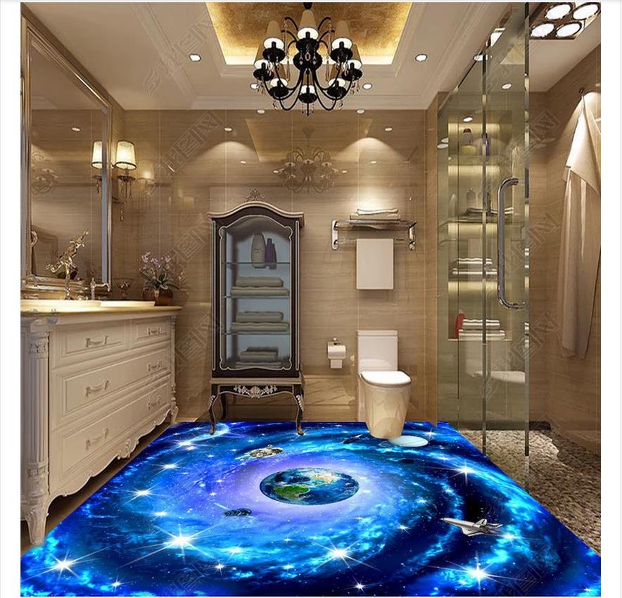 custom photo wallpaper 3d flooring Waterproof self-adhesion murals Space Milky Way vast starry sky interstellar 3D floor tile
