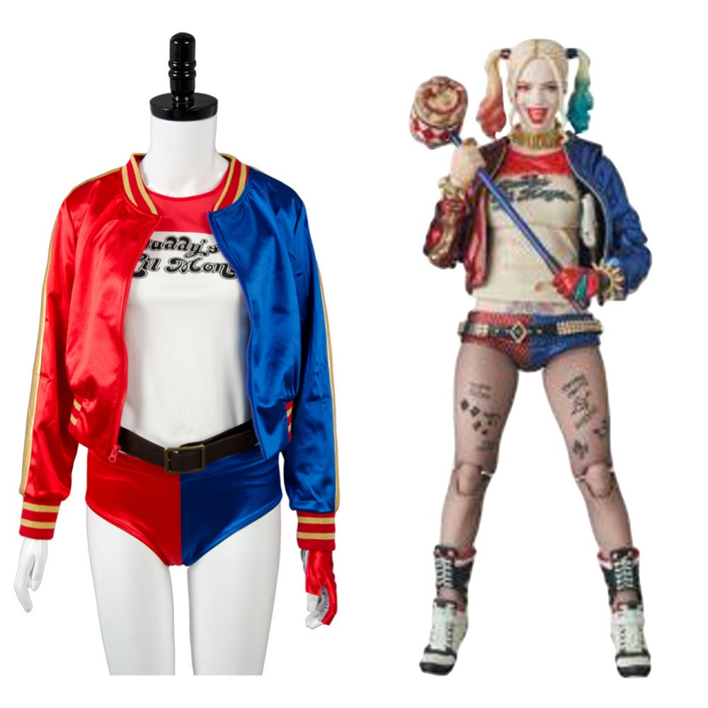 suicide squad costume harley quinn cosplay costume red. Black Bedroom Furniture Sets. Home Design Ideas