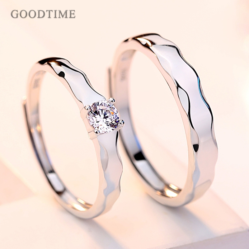 Fashion 100% Real 925 Sterling Silver Rings Wedding Bridal 3A Zirconium Drill Ring Couple Jewelry  Ring Valentine Gift Engraved