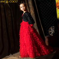 4 5 6 7 8 9 10 11 12 Years Red Dress+Long sleeve Black Coat Girls Dresses For Weddings Lace Prom Party Pageant Tulle Ball Gowns