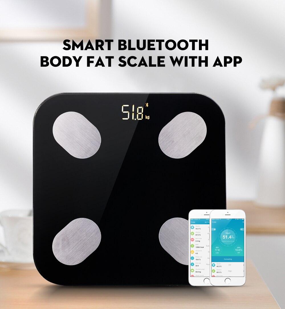 1Balança Inteligente de Bioimpedancia Eletrônica de Medida de Gordura Corporal Bluetooth App Android Ios - SmartBalance