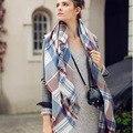 Hijab Bandana Home European Major Suit Foreign Trade Imitate Cashmere Stripe Scarf Lattice Shawl Pashmina Echarpe