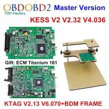ЭКЮ Программист KTAG К TAG V2.13 V6.070 + V2.32 KESS V2 V4.036 + BDM РАМА Полный Адаптеры Нет Жетоны KESS V5.017 DHL бесплатно