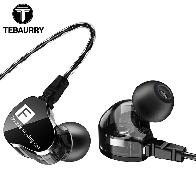 цена на TEBAURRY Earphones Dual Unit Driver Sport In-ear Earphone 3.5mm HiFi Bass Headset with Mic DJ Music Earphone for Phone MP3