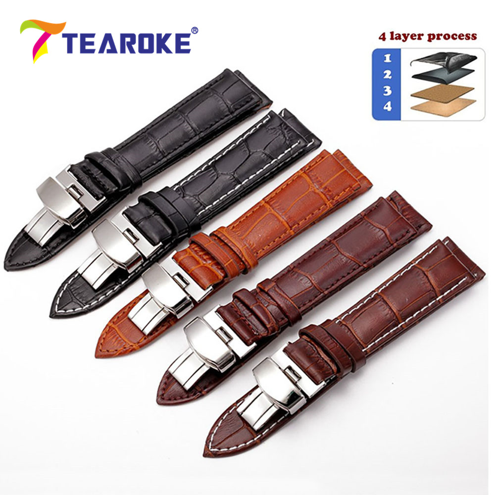 TEAROKE Leather Watch Band Strap Butterfly Deployant Buckle 12 14 16 18 19 20mm 22mm 24mm Polished Metal Clasp Watch Accessories