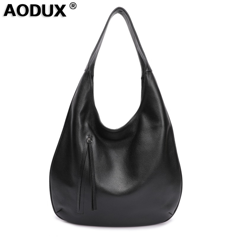 Aodux 100 Genuine Cow Leather Large Casual Women s Shoulder Bags Ladies Shopping Bucket Handbags Female