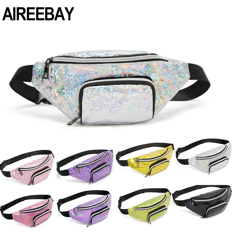 AIREEBAY Sequins Holographic Fanny Pack Female Waist Pack Women's Laser Chest Waist Bag Girls Belt Bag Travel Bum Bag 2019 New