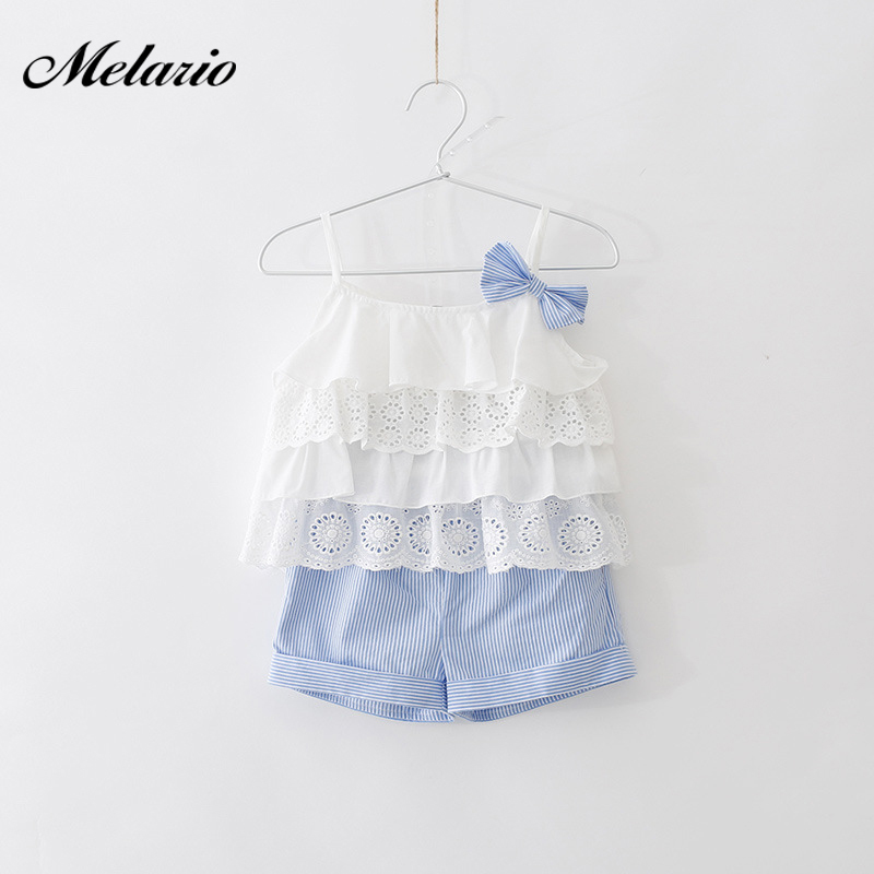 Melario Girls  Clothes Sets summer new fashi kids Suit Bow pleated camisole vest top+striped shorts 2pcs Girls fashion Sets 3-7TMelario Girls  Clothes Sets summer new fashi kids Suit Bow pleated camisole vest top+striped shorts 2pcs Girls fashion Sets 3-7T