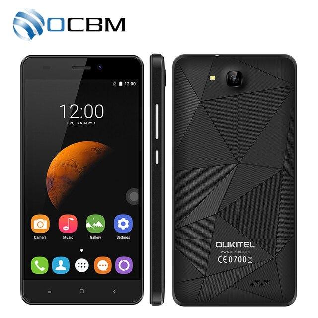 Original Oukitel C3 5.0inch 1280x720 Android 6.0 MT6580 Quad Core 1.3GHz 5.0MP 1G RAM 8G ROM 2000Mah Dual SIM Mobile Phone