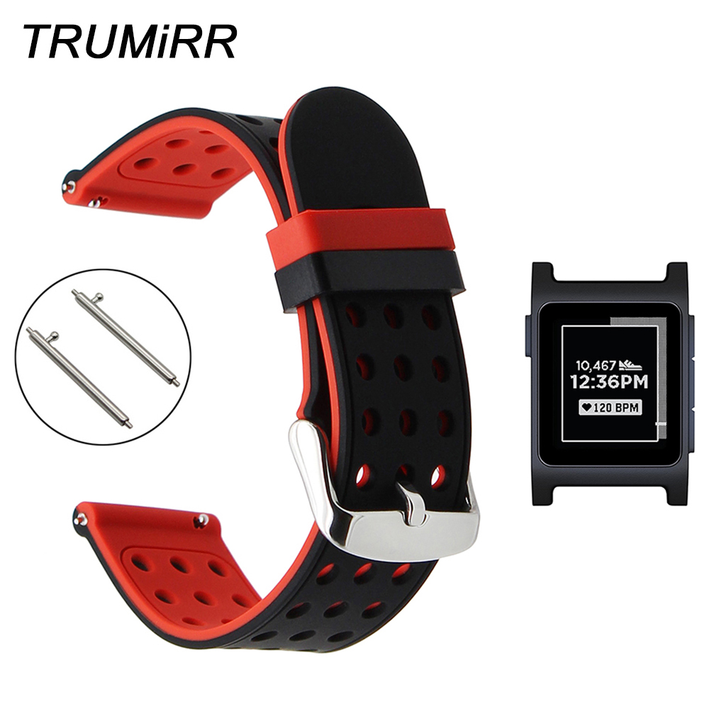 Quick Release Silicone Rubber Watchband for Pebble 2 / 2 SE Smart Watch Band Sports Strap Wrist Belt Bracelet Black Red White g94337 05 бра металл brilliant page 6