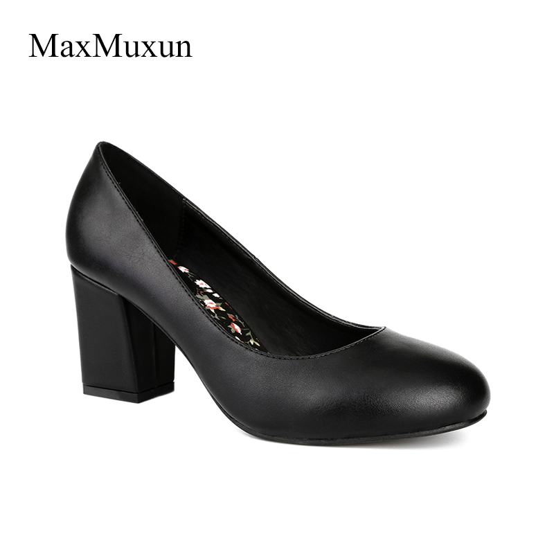 MaxMuxun Women Shoes Med High Thin Heel Pumps Classic Office