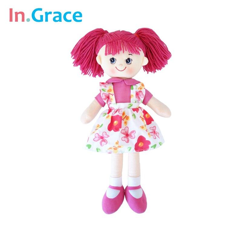 InGrace marka moda bebek çocuklar için kız kırmızı elbise ile yumuşak yüksek kalite bebekler kız benzersiz hediye bez dolması çocuk oyuncak