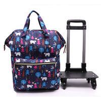 Women Travel bag Trolley Bag/case travel Backpack with wheel Rolling luggage trolley portable Suitcase waterproof Oxford handbag