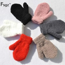 Winter Warm Wrap Gloves For Children Solid Knitted Inside Soft Wool Thicken Glove 1-4 Years Boys And Girls Finger-covered Gloves