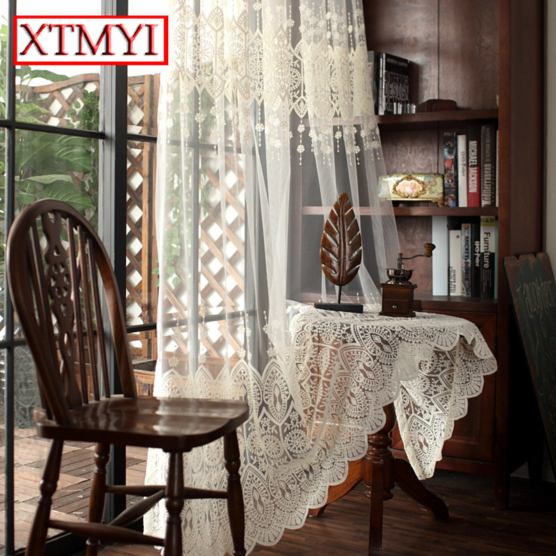 Luxury Delicate Embroidery Tulle Curtains For Living Room Sheer Volie Window Curtain
