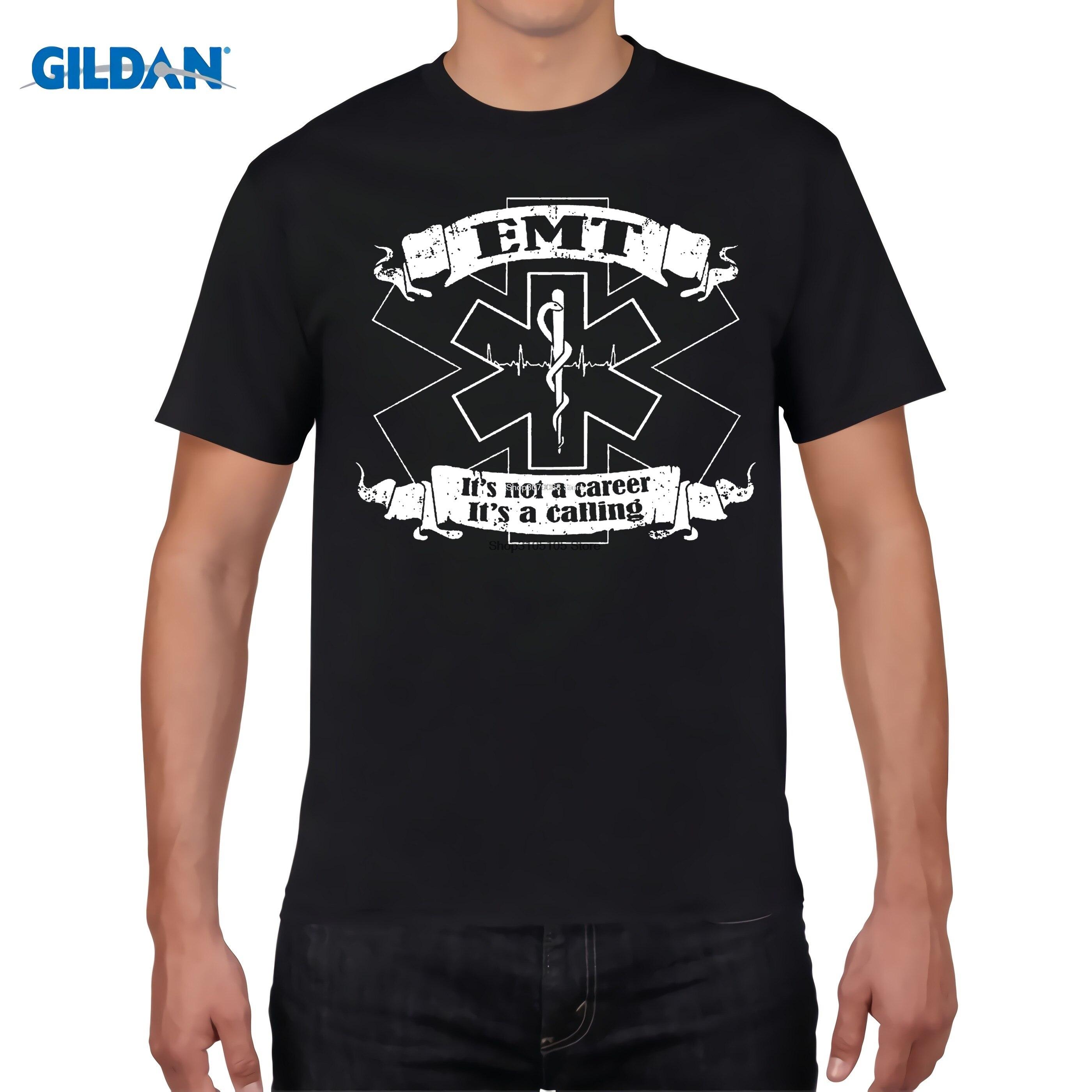 GILDAN designer t shirt Good Quality Cotton T Shirt Men EMT Shirt Emergency Medical Technician EMS Star Of Life Tee Shirts