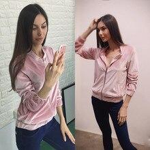 Pink Bomber Jacket Women Basic Coats Autumn Pocket Zipper Outerwear Chaquetas Mujer Jaqueta Feminina WT4553
