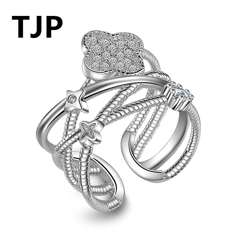 TJP Luxury 925 Sterling Silver Ring Women Finger Jewelry Cute Gold Cross Flower Crystal Party Rings Open Accessory Wholesale