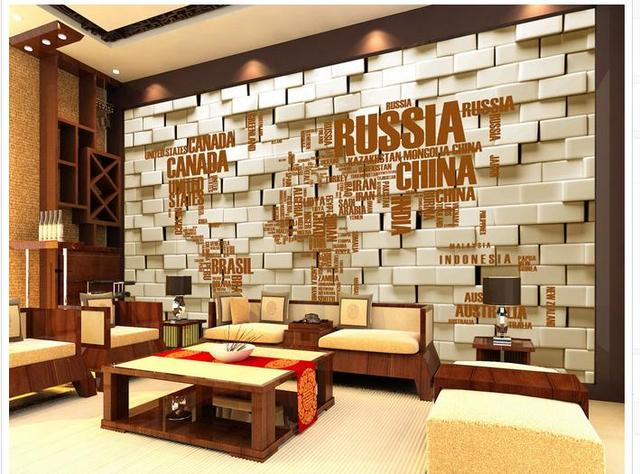 Kundenspezifische 3d Fototapete 3d Wandbilder Wallpaper Englisch Alphabet  Karte Hintergrund Wand Ziegel Wand 3d Wohnzimmer Tapete