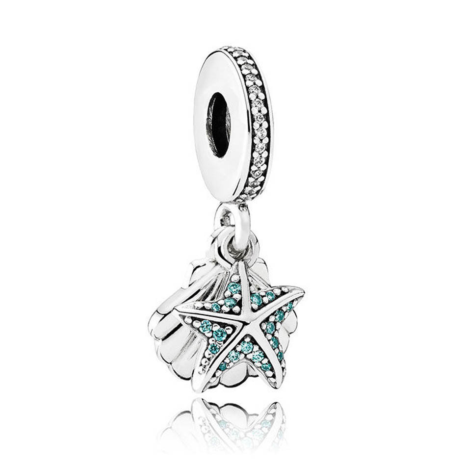 Authentic 925 Sterling Silver Charm Starfish & Shell With Crystal Dangle fit Pandora Bracelet Bangle Diy JewelryAuthentic 925 Sterling Silver Charm Starfish & Shell With Crystal Dangle fit Pandora Bracelet Bangle Diy Jewelry
