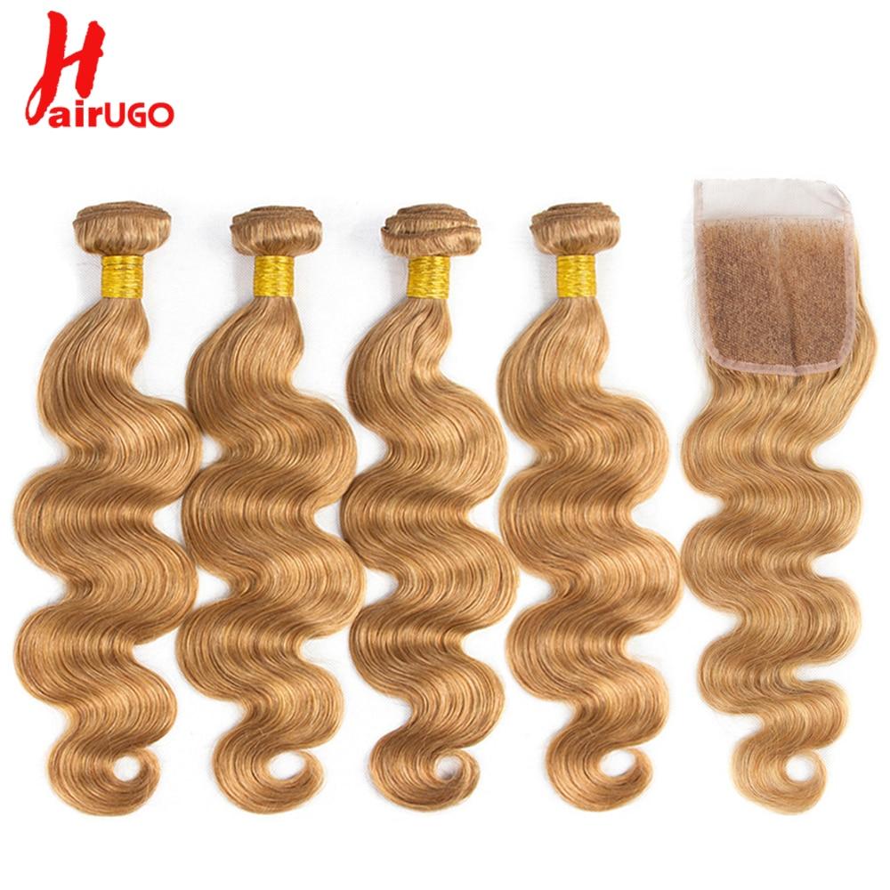 HairUGo Brazilian Hair Weave Body Wave Bundles With Closure 27 Honey Blonde Ombre Human Hair Bundles