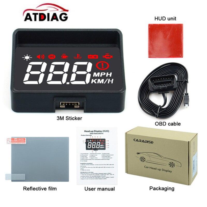 POWLAB Car HUD Head Up Display Car Speed Projector P10 OBD2/EUOBD ...