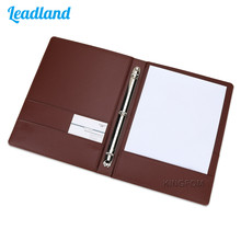 Fashion Style Business Office Supplies Colorful Leather 4 Ring Binder Files Folder Travel Portfolios Black