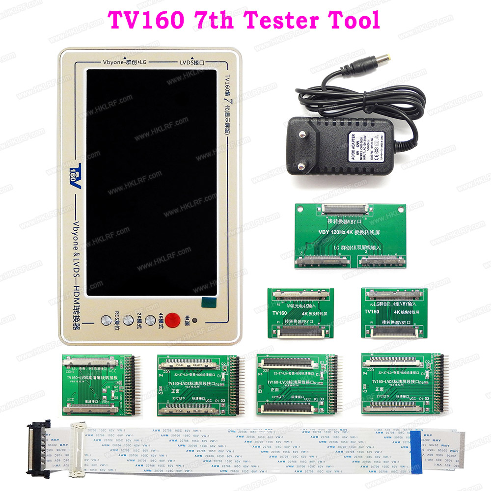 TV160 7th TV Mainboard Tester Tools LCD Display Vbyone LVDS to HDMI Converter 7 Adapters Panels